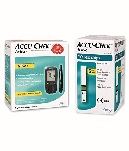 Accu-Chek Active Blood Glucose Meter Kit, Vial of 10 strips free (Multicolor) - Surgicals53