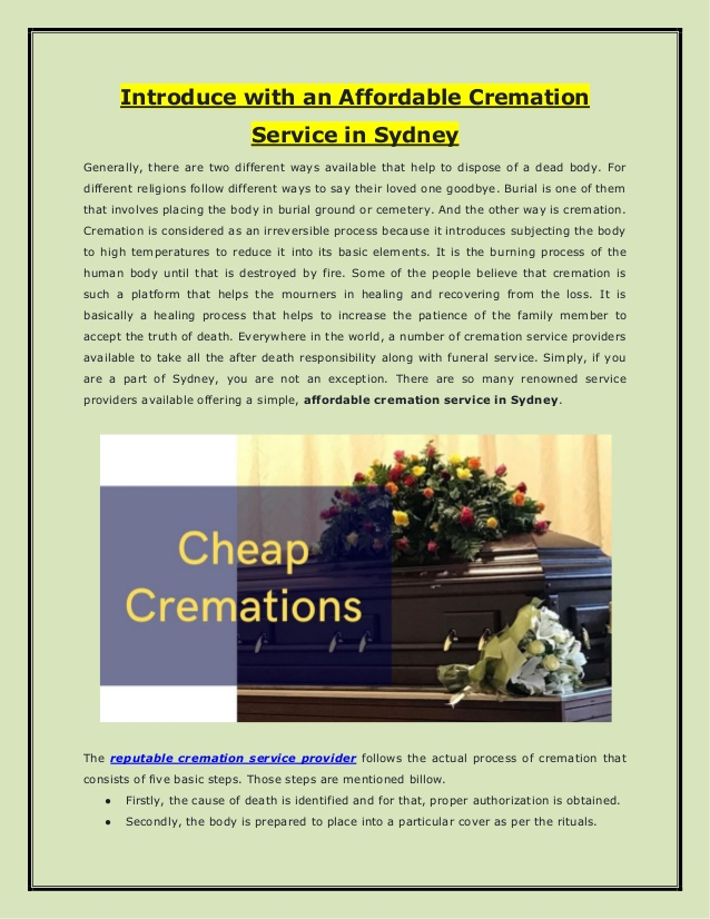 Introduce with an Affordable Cremation Service in Sydney