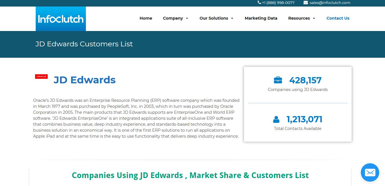 JD Edwards Customers List