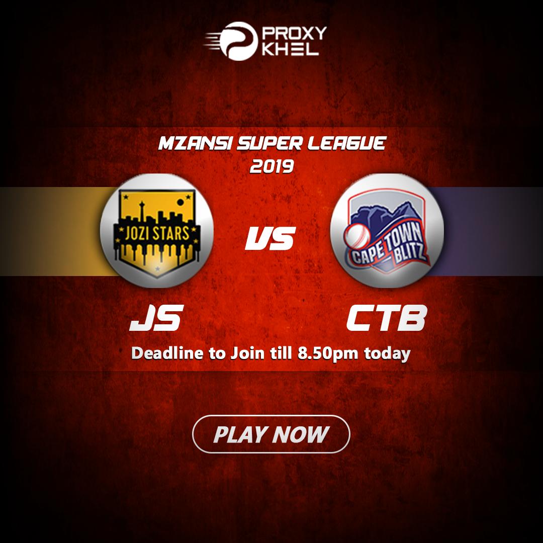 JS vs CTB Match 01 Mzansi Super League | Proxy Khel Predictions.