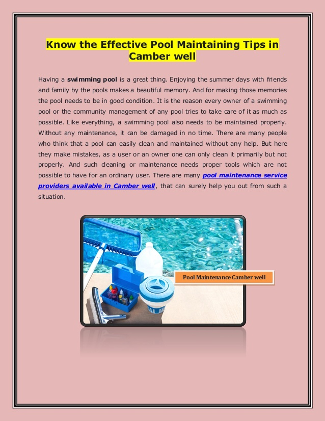 Know The Effective Pool Maintaining Tips in Camber well