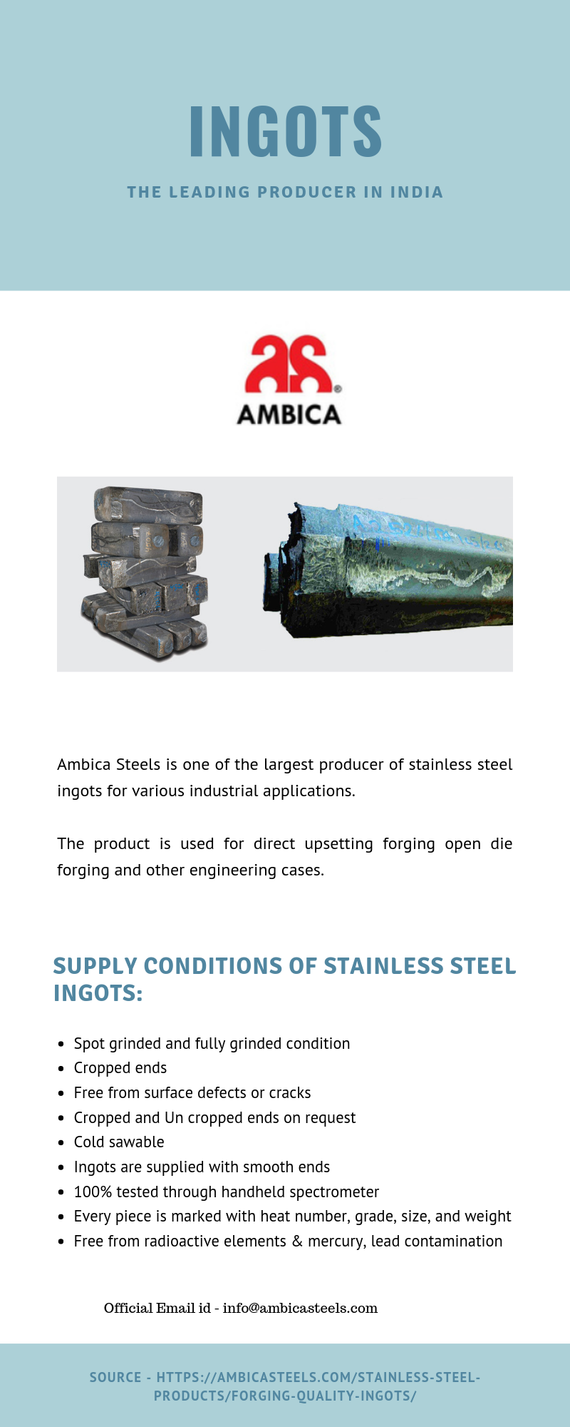 Ambica Steel is one of the Largest Producer of Stainless Steel Ingots