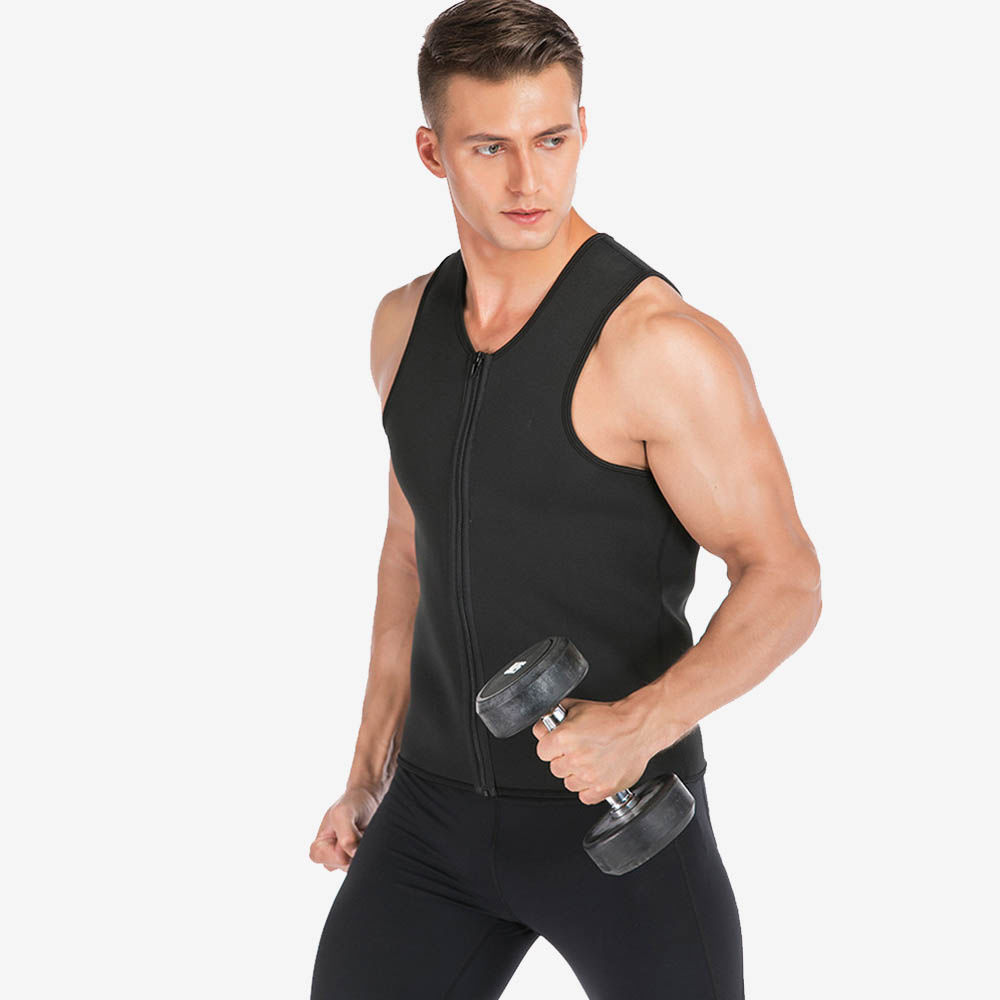 Men Neoprene Waist Trainer Vest Sauna Sweat Zipper Workout Slimming Body Shaper | Sayfutclothing