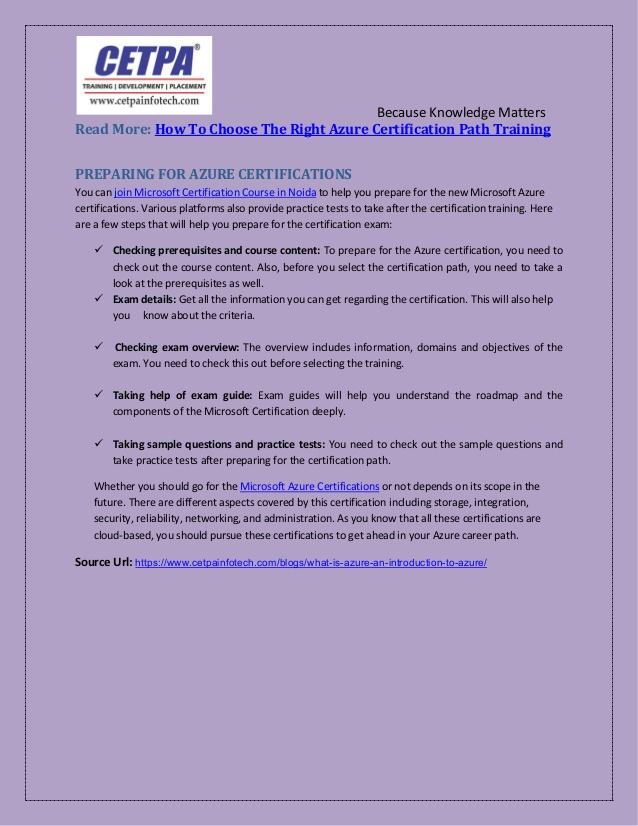 Microsoft Certification: Join Microsoft Azure Training institute in N…