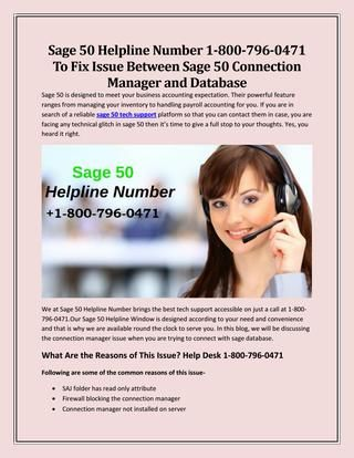 Sage 50 Helpline Number 1-800-796-0471 To Fix Issue Between Sage 50 Connection Manager And Database by masonolivia - Issuu