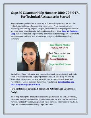 Sage 50 Customer Help Number 1-800-796-0471 For Technical Assistance In Started by masonolivia - Issuu