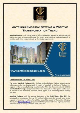 Antriksh Embassy: Setting A Positive Transformation Trend by AntrikshEmbassy - Issuu