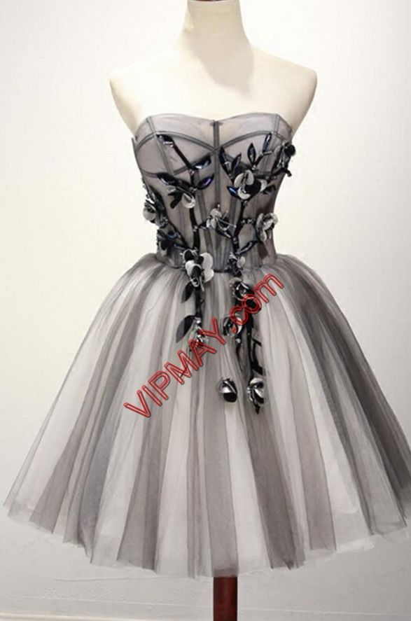 New Arrival Sweetheart Sleeveless Tulle Homecoming Dress Hand Made Flower Lace Up