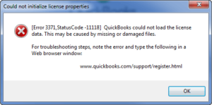 QuickBooks error 3371 status code-11118 | Fix QuickBooks Error 3371