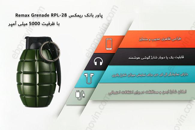 پاور بانک ریمکس Remax Grenade RPL-28 با ظرفیت 5000 میلی آمپر
