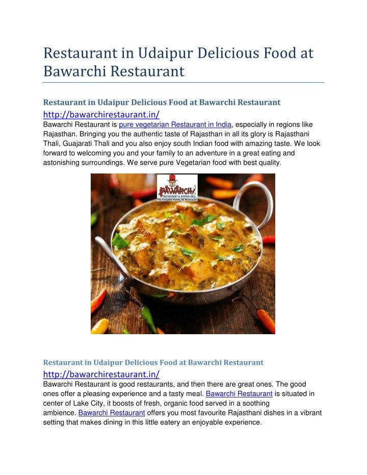 PPT - Restaurant in Udaipur Delicious Food at Bawarchi Restaurant PowerPoint Presentation - ID:8076532