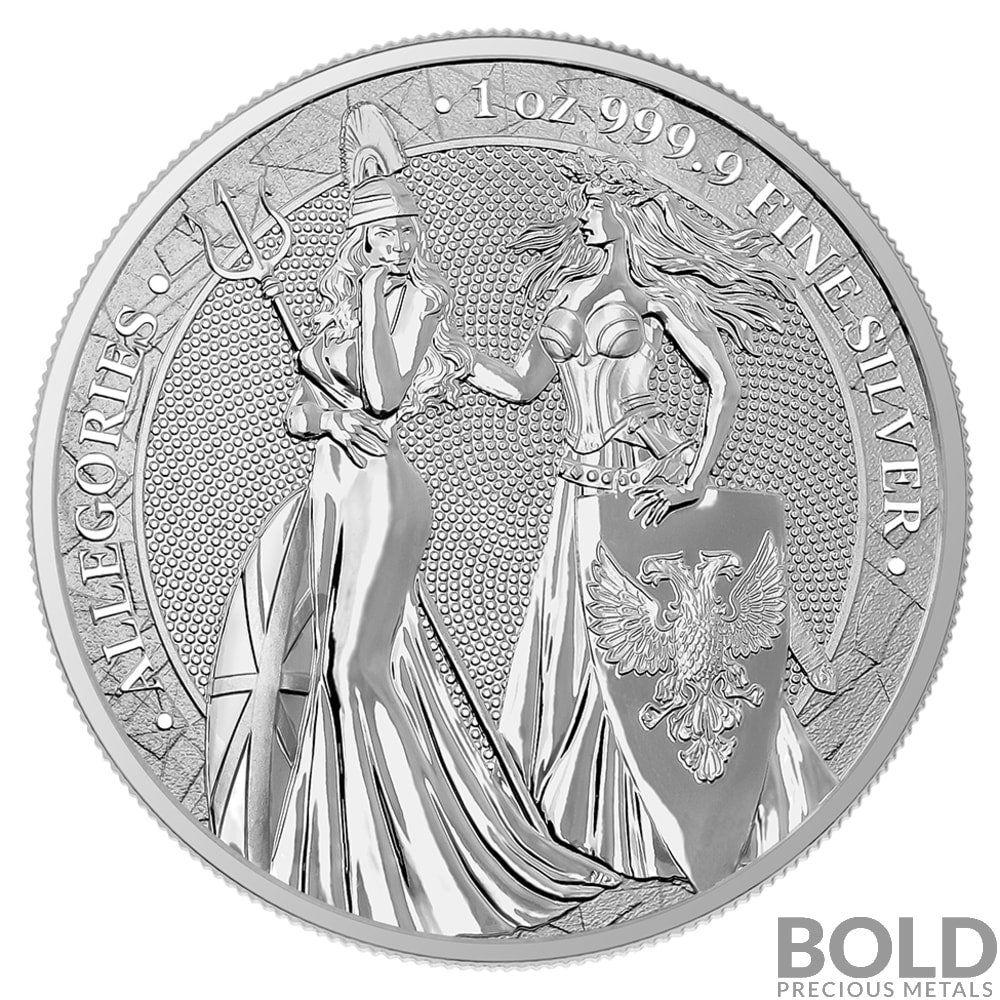 2019 Silver Allegories Germania And Britannia BU Round 1 Oz Coin