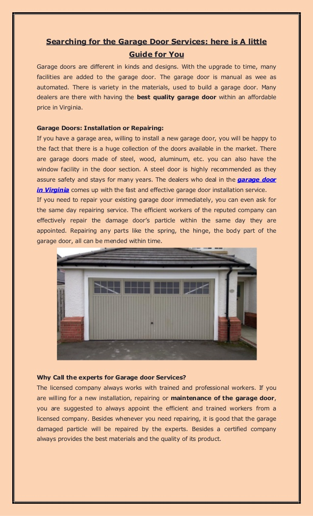 Searching for the Garage Door Services: here is A little Guide for You