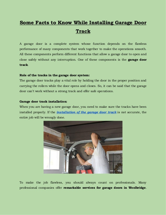 Some Facts to Know While Installing Garage Door Track