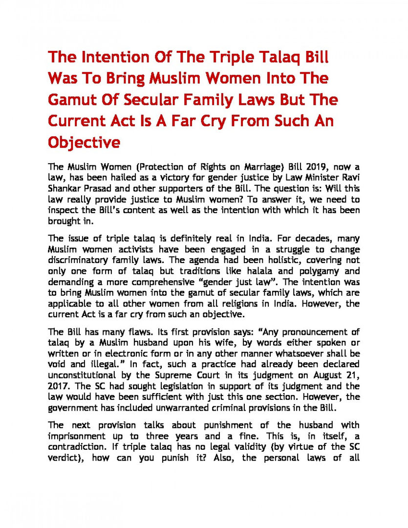 The Intention Of The Triple Talaq Bill Was To Bring Muslim Women Into The Gamut Of Secular Family Laws But The Current Act Is A Far Cry From Such An Objective