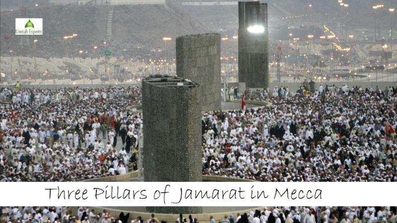 Three Pillars of Jamarat in Mecca