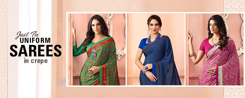 Buy Uniform Sarees, Designer Georgette, Crepe & Chiffon Saree Online