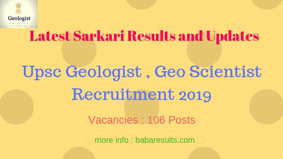 Upsc Geologist , Geo Scientist Recruitment 2019