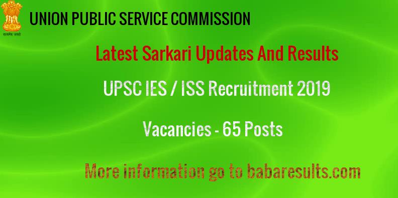 UPSC IES / ISS Recruitment 2019