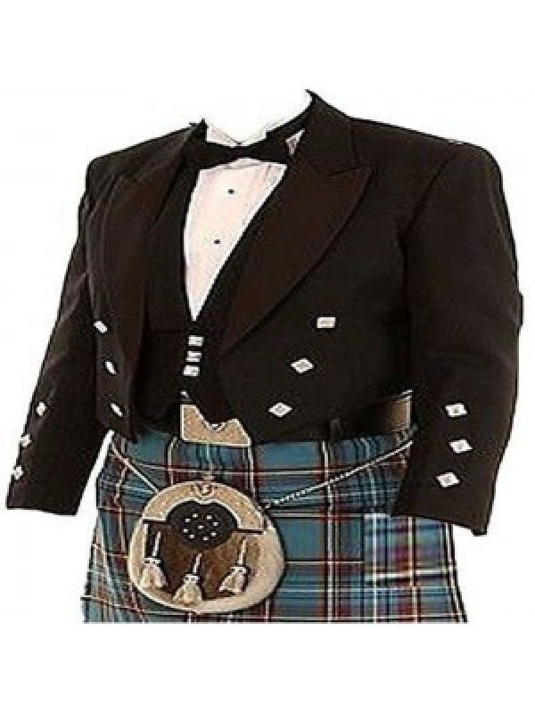 Prince Charlie Kilt Jacket; Colored Black