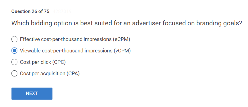 Which bidding option is best suited for an advertiser focused on branding goals?