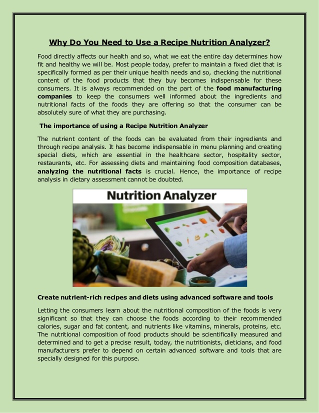Why Do You Need to Use a Recipe Nutrition Analyzer?