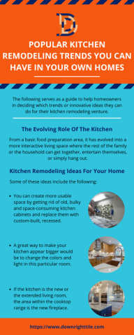 downrighttile - Popular Kitchen Remodeling Trends You Can Have In Your Own Homes If you are looking to install new tile flooring, let us do it for you! We offer a 100% satisfaction guarantee on all shower tile installation in Kansas City and remodeling while saving you money. - Plurk