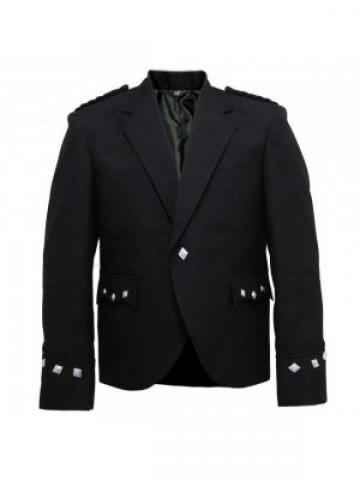 Men Military Black Jacket Kilt For Wedding