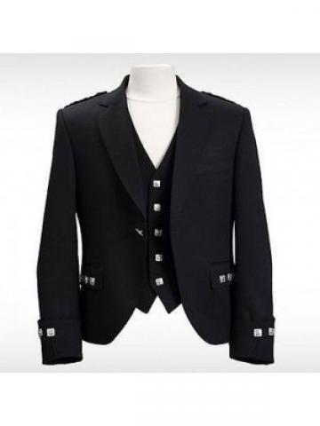 Argyll Wool Kilt Jacket Perfect for Wedding; Colored Black