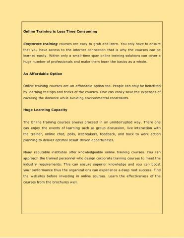 Facts to Know about Online Training