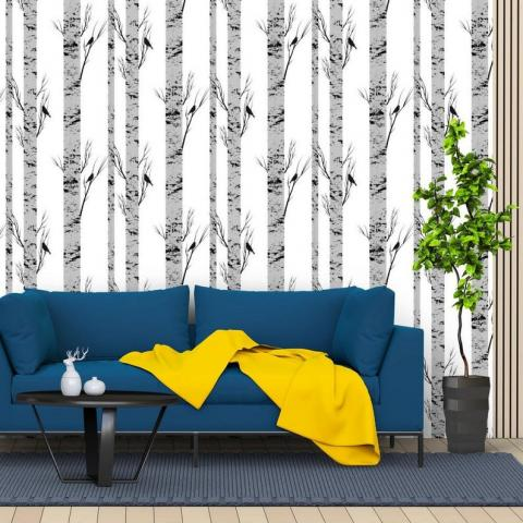 Birch Tree Forest Removable Wallpaper Traditional or | Etsy