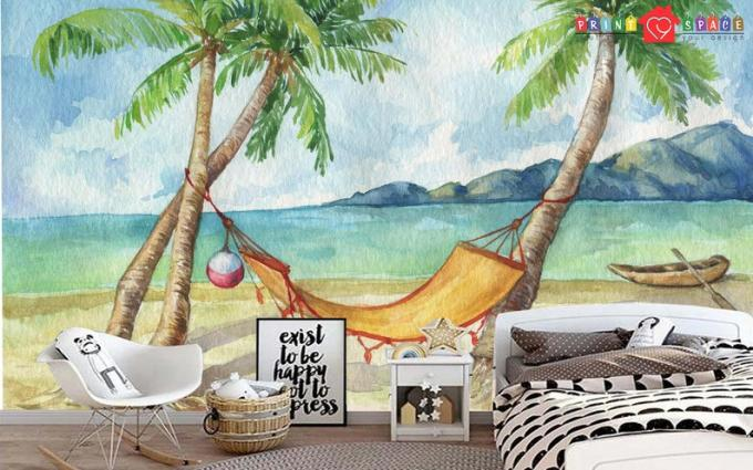 Tropical Beach Watercolor Wallpaper Removable Peel and Stick | Etsy