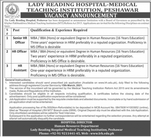 Jobs In Peshawar Lady Reading Hospital 2021 | JobsPortal.Pk