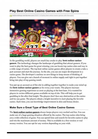 Play Best Online Casino Games with Free Spins   Visual.ly