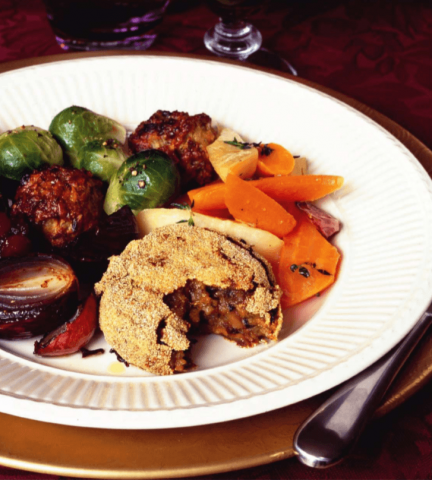 Sweet Potato, Wild Mushroom & Chestnut Cakes-Christmas Lunch. - Fueldom