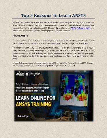 Top Reasons To Learn ANSYS – Croma Campus