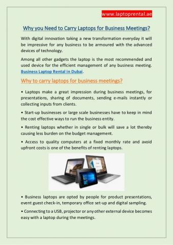 Business Laptop Rental Dubai