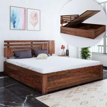 Buy Borneo Sheesham Wood Queen Size Bed With Hydraulic Storage