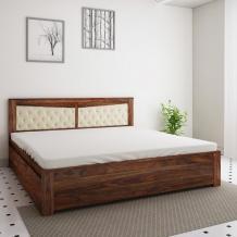 Buy Spanish Sheesham Wood King Size Bed With Side Storage