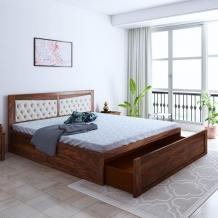 Buy Spanish Sheesham Wood Queen Size Bed With Front Drawer