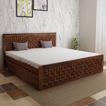 Buy Flamingo Sheesham Wood Queen Size Bed With Side Drawer