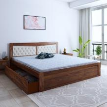 Buy Spanish Sheesham Wood Queen Size Bed With Side Storage