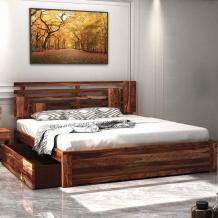 Buy Borneo Sheesham Wood King Size Bed With Side Drawer