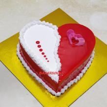 Red white heart shape cake | Heart Shape Cake | Valentine Cake | Bakersoven