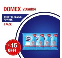 Domex Toilet Cleaning Powder 250mlX4 Multipack