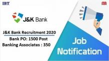 JK Bank Recruitment 2020 for PO and Banking Associate Posts - Apply Now