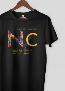 NYC Black Half Sleeves T-shirt For Men - KWABEY