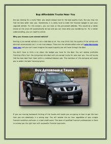 Buy Affordable Trucks Near You  |authorSTREAM