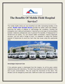 The Benefits of Mobile Field Hospital Service   authorSTREAM