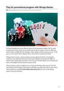 Play for Promotional Program With Wonga Games  |authorSTREAM